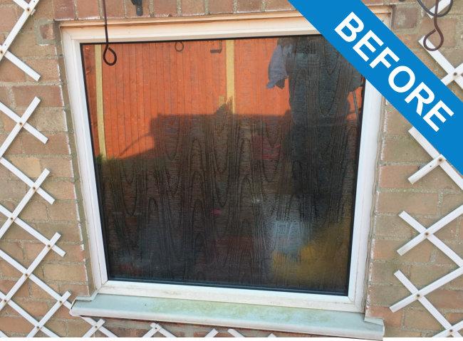 spraying window frames